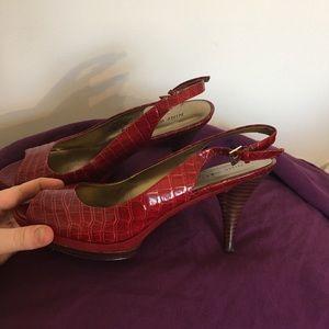 Nine West Shoes - Red snakeskin Nine West heels